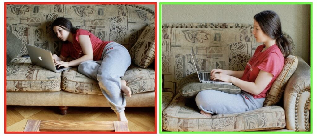 Teenager working on a couch