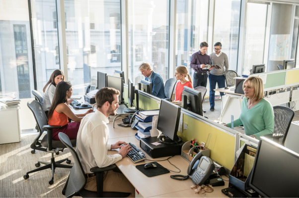 Group of office workers at their desks